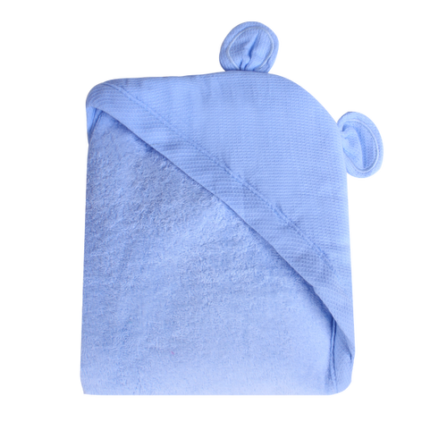 Newborn Animal Hooded Towel - light blue bear