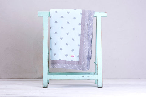 Large Reversible Summer Blanket - shiny star light blue