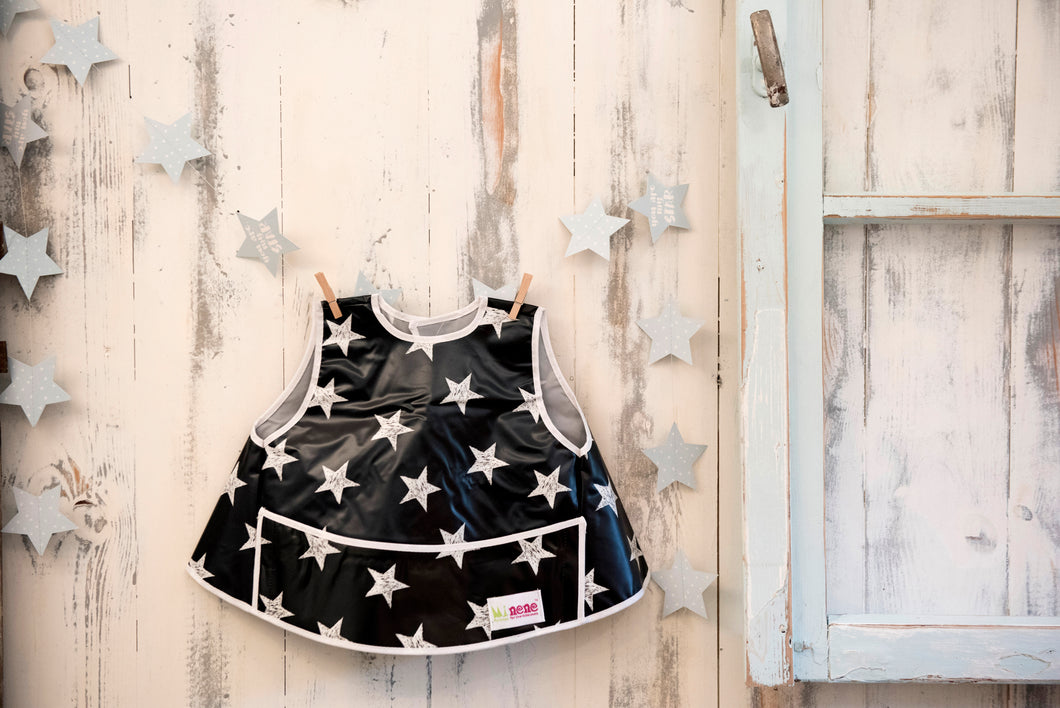 Full vest bib - black & white stars