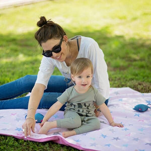 Portable Activity Mat - stars on baby pink