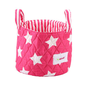 Small storage basket - fuchsia & white stars