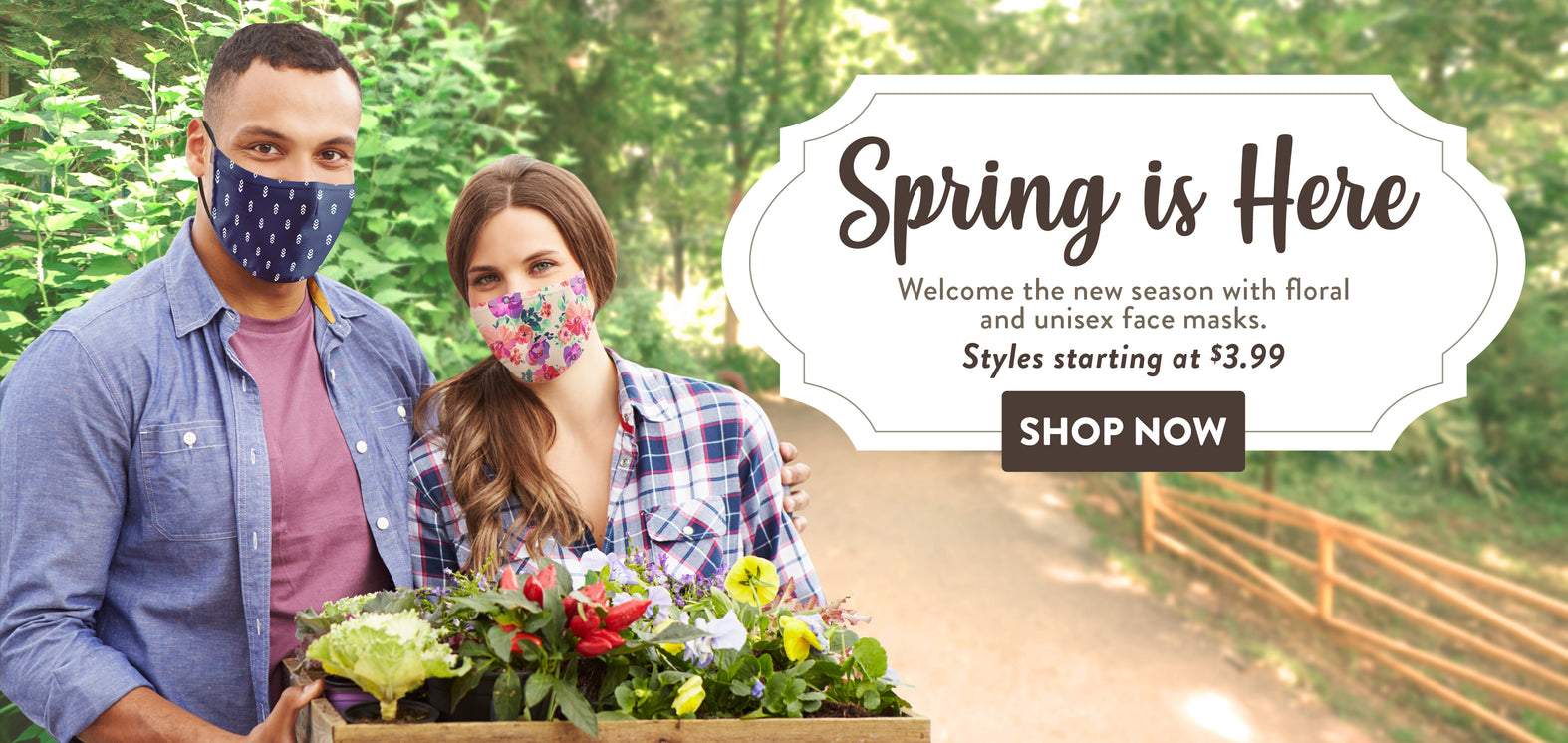 Banner for unisex face masks for spring season