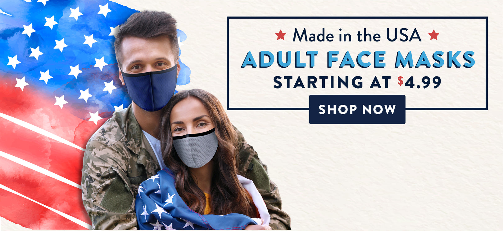 Banner for adult face masks made in usa