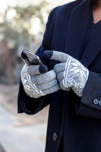 Touch Screen Gloves Light Gray Snowflake