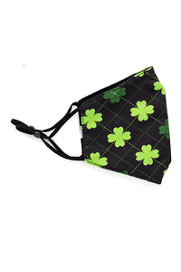 Adjustable Strap Fashion Mask - Clovers Black