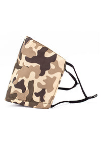 Adjustable Strap Fashion Mask w/ Nose Wire- Brown Camo