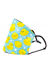 Adjustable Strap Fashion Mask w/ Nose Wire- Bubble Duckies