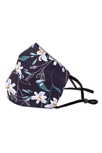 Adjustable Strap Fashion Mask- Navy Lilies