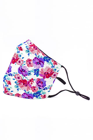 Adjustable Strap Fashion Mask- Watercolor Flowers