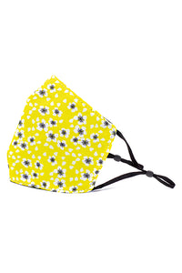 Adjustable Strap Fashion Mask- Yellow Daisies