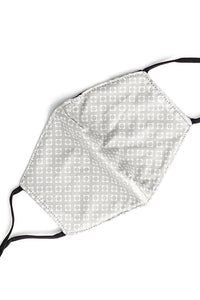 Adjustable Strap Fashion Mask- Gray Geo