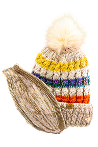 Furball Beanie with Face Mask Beige