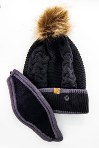 Furball Beanie with Face Mask Solid Black
