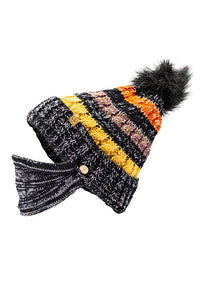 Furball Beanie with Face Mask Striped Black