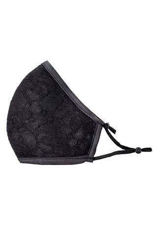 Luxury Adjustable Strap Fashion Face Mask- Black and Nude Lace