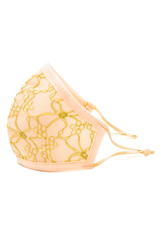 Luxury Adjustable Strap Fashion Face Mask- Champagne Lace