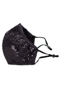 Luxury Adjustable Strap Fashion Face Mask- Black Sequins
