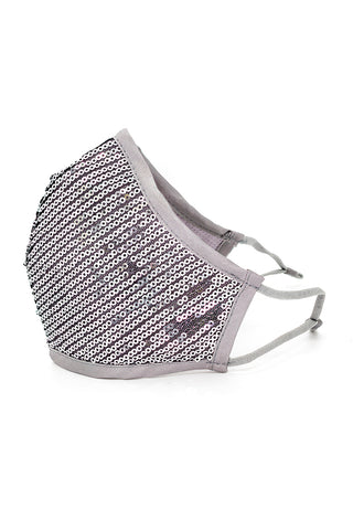 Luxury Adjustable Strap Fashion Face Mask- Silver Sequins