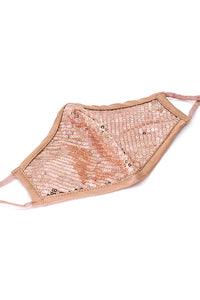 Luxury Adjustable Strap Fashion Face Mask- Champagne Sequins