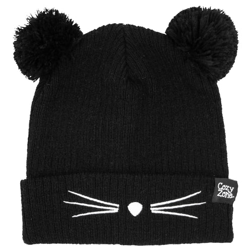 A black fashion beanie with two pom-poms on top with white whiskers in front
