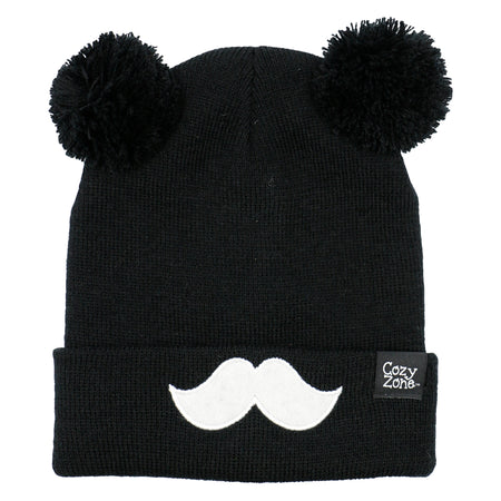 A black fashion beanie with two pom-poms on top with a white mustache in front