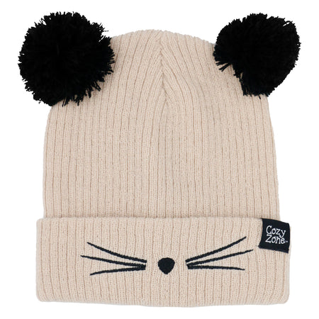 A beige fashion beanie with two pom-poms on top with black whiskers in front