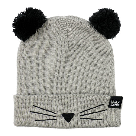 A grey fashion beanie with two pom-poms on top with black whiskers in front