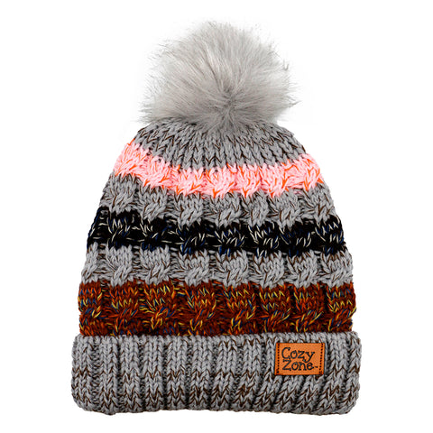 Faux Fur Beanie Striped Gray