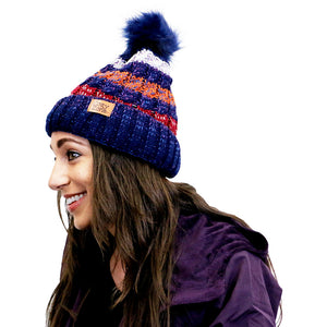 Faux Fur Beanie Striped Navy