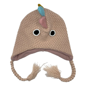 Kids Knit Hat Dino Pink