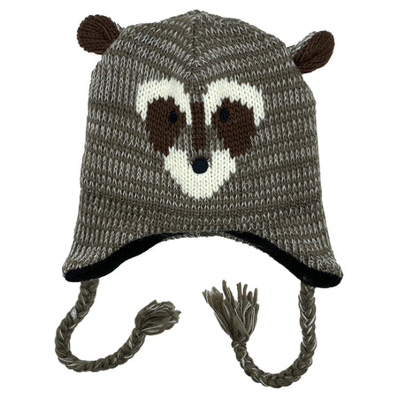 Kids Knit Hat Raccoon