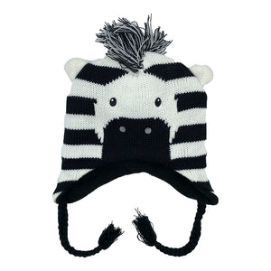 Kids Knit Hat Zebra