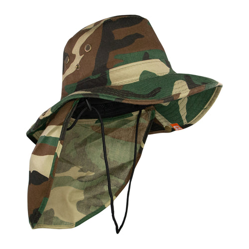 Summer Hat Sol Bucket with Flap Hat Camo Green