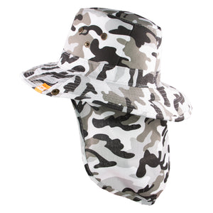 Summer Hat Sol Bucket with Flap Hat Camo Grey