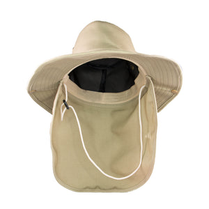 Summer Hat Sol Bucket with Flap Hat Dark Beige