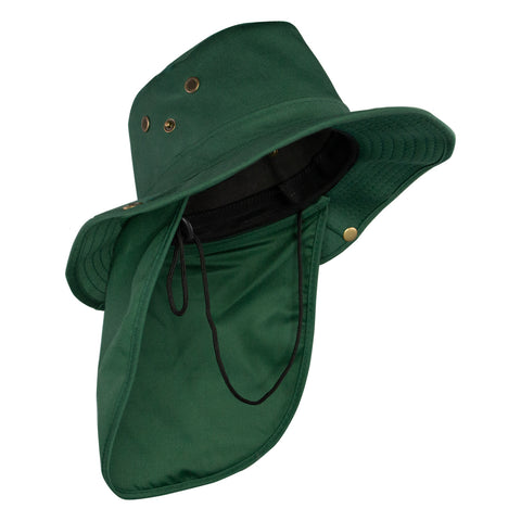 Summer Hat Sol Bucket with Flap Hat Dark Green