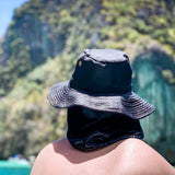 Summer Hat Sol Bucket with Flap Hat Dark Navy
