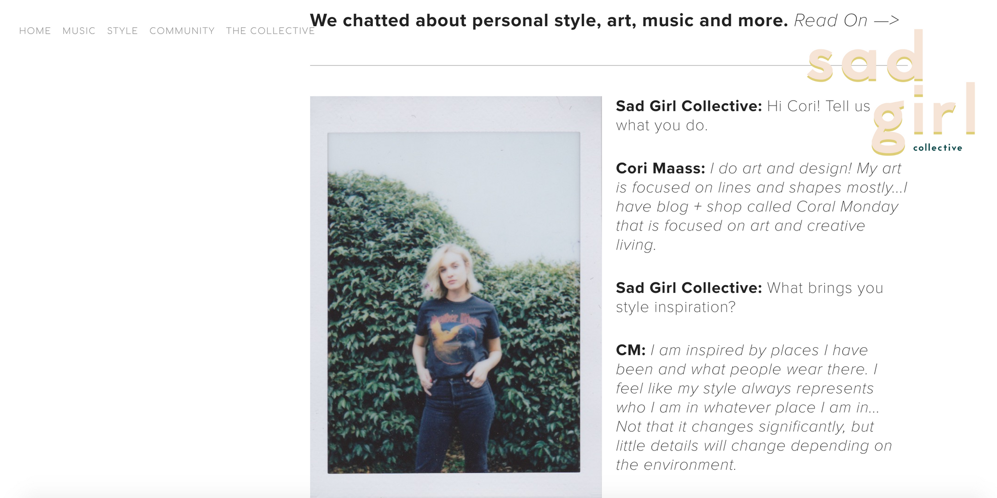 Sad Girl Co Coral Monday Cori Maass Interview