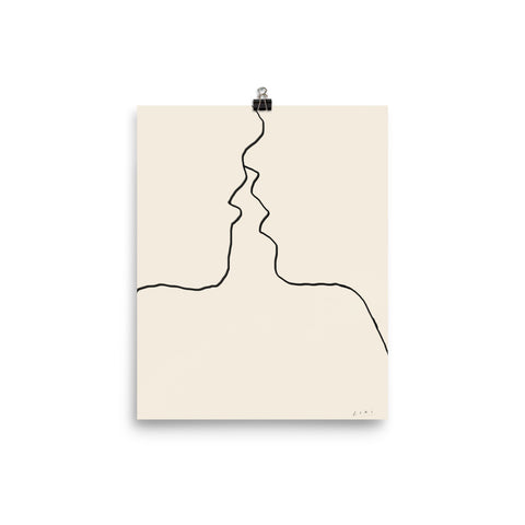 first kiss print fine art print local limited edition people kissing los angeles coral monday cori maass hand art hands touching black and white drawing adobe sketch draw ipad pro los angeles artist designer blogger feminist line art minimalist felt pen beige