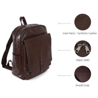SSAMZIE Mens Faux Leather Backpack School College Bag Daypack Rucksack 612203 - chanchanbag