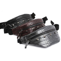 Dickfist Mens Studded Faux Leather Fanny Pack Womens Waist Pack Bag 9086 - chanchanbag