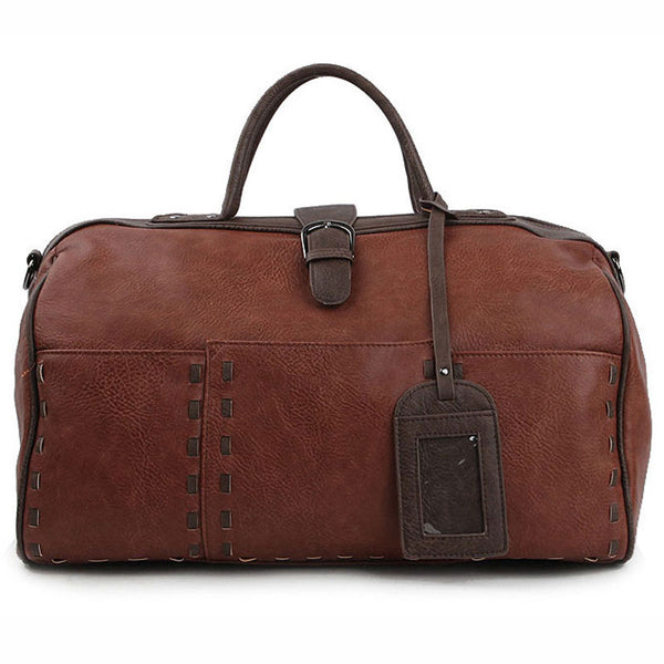 Dickfist Mens Faux Leather Duffle Bag Womens Travel Shoulder Bag Gym Bag 313 - chanchanbag
