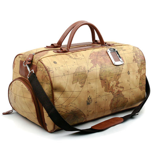 Colatree World Map Bag Mens Duffle Bag Womens Travel Shoulder Bag Crownj B - chanchanbag