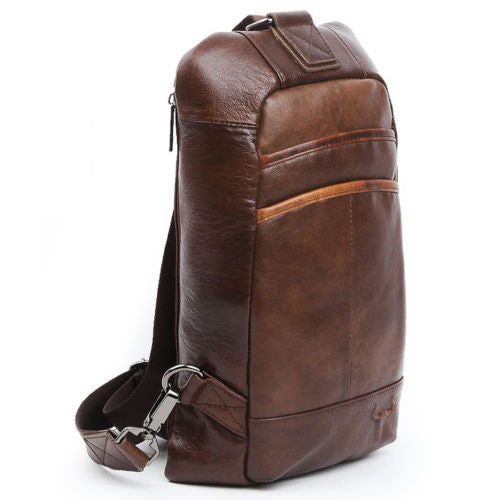 Blue Mount Mens Genuine Leather Sling Bag Crossbody Bag Shoulder Backpack 9158 - chanchanbag