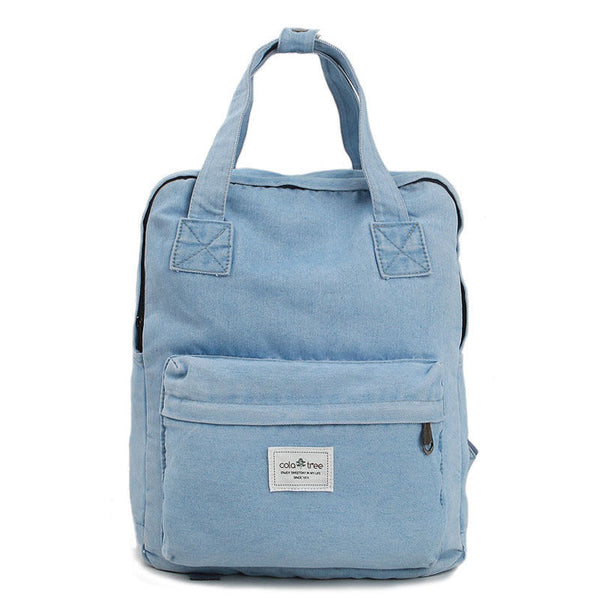 Colatree Womens Denim Backpack Mens School Bag College Bag Daypack 215 - chanchanbag
