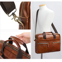 Blue Mount Mens Genuine Leather Briefcase Laptop Business Messenger Bag Attache 9023 - chanchanbag