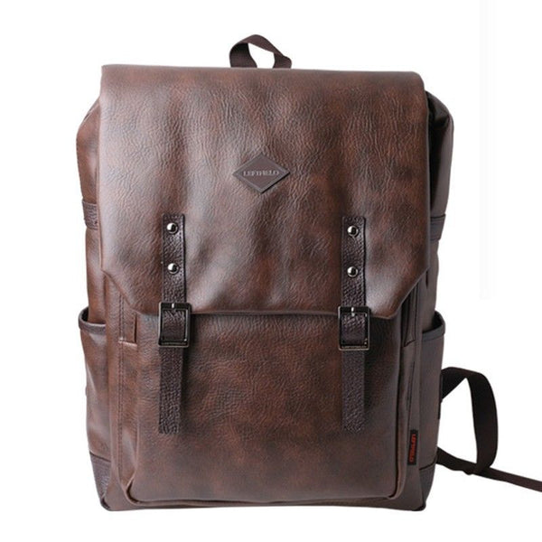 LEFTFIELD Mens Faux Leather Backpack College School Bag Laptop Rucksack 088 - chanchanbag