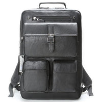 SLICK Mens Faux Leather Backpack College School Bag Laptop Rucksack 727 - chanchanbag