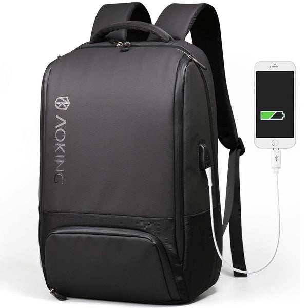 Aoking Mens 15.6'' Laptop Backpack with USB Port College School Business Bag 77880