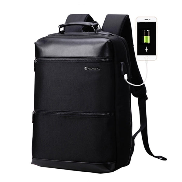 Aoking Mens Business Bag with USB 15.6'' Laptop Backapck College School Bag 86621 - chanchanbag